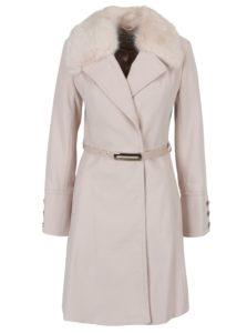Svetloružový kabát s opaskom a umelým kožúškom Miss Selfridge