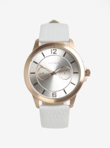 Pozlátené hodinky v ružovozlatej farbe s bielym koženým remienkom Pilgrim
