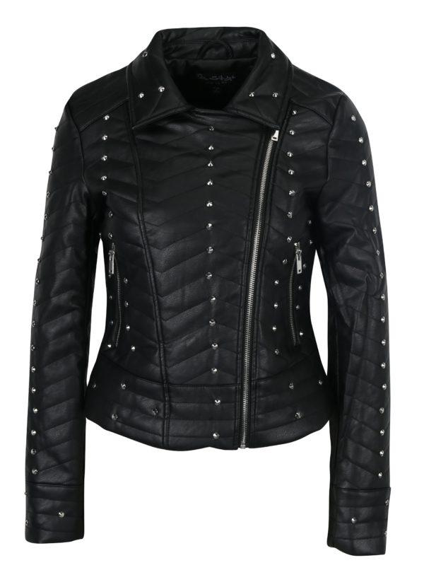 Čierna koženková bunda s plastickými detailmi Miss Selfridge