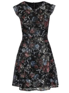 Čierne čipkové šaty so šerpou v páse Mela London