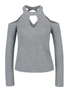 Sivý sveter s prestrihmi Miss Selfridge