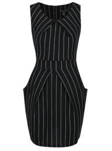 Čierne pruhované puzdrové šaty bez rukávov Mela London