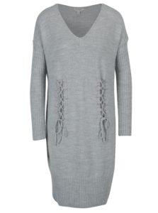 Svetlosivé melírované pletené šaty s dlhým rukávom Miss Selfridge