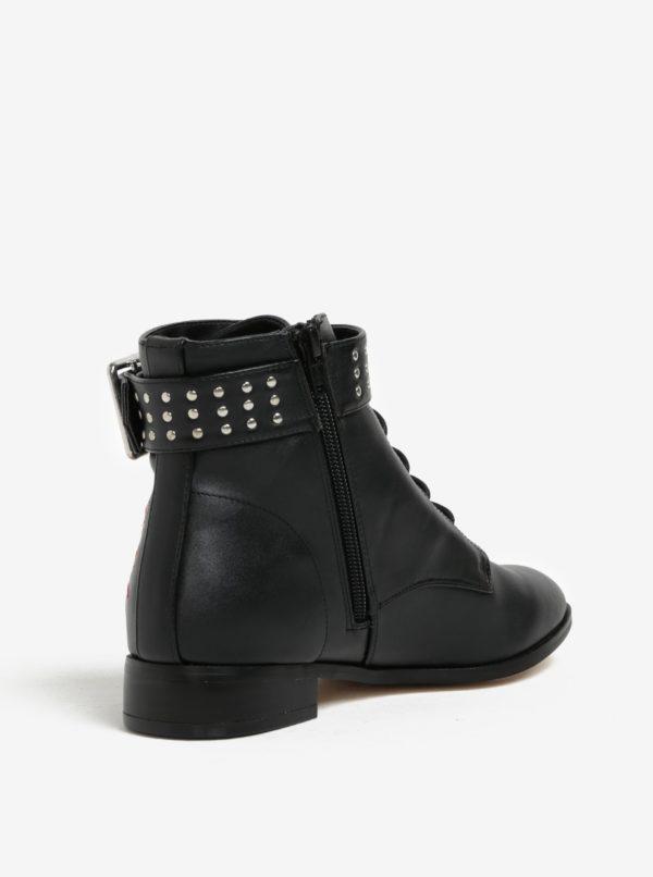 Čierne členkové topánky s výšivkou Miss Selfridge