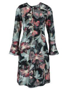 Čierno-zelené kvetované šaty s prestrihom v dekolte Closet