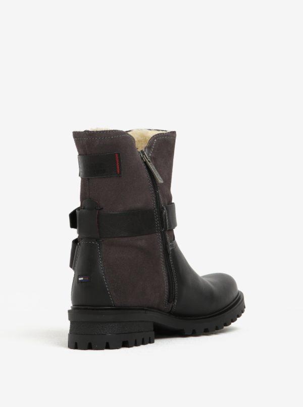b2cb417912 Čierne dámske kožené členkové topánky s umelým kožúškom Tommy Hilfiger Corey