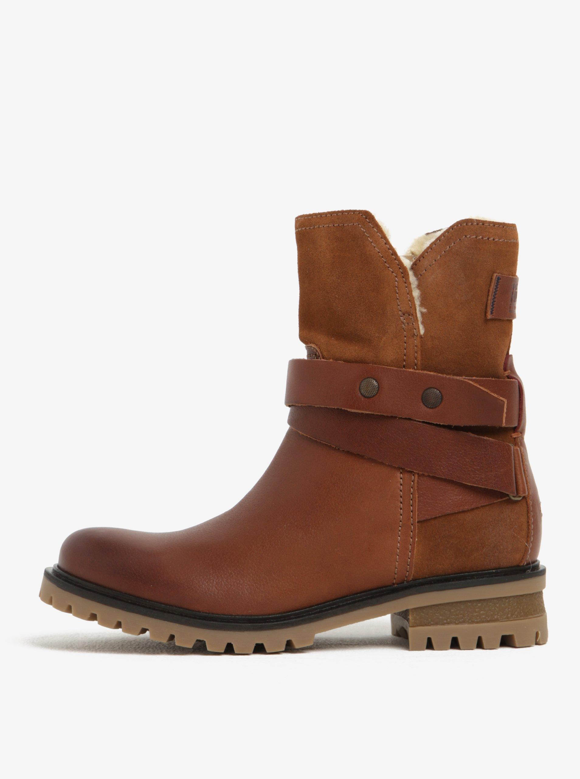 6a316c5a32 Hnedé dámske kožené členkové topánky s umelým kožúškom Tommy Hilfiger Corey