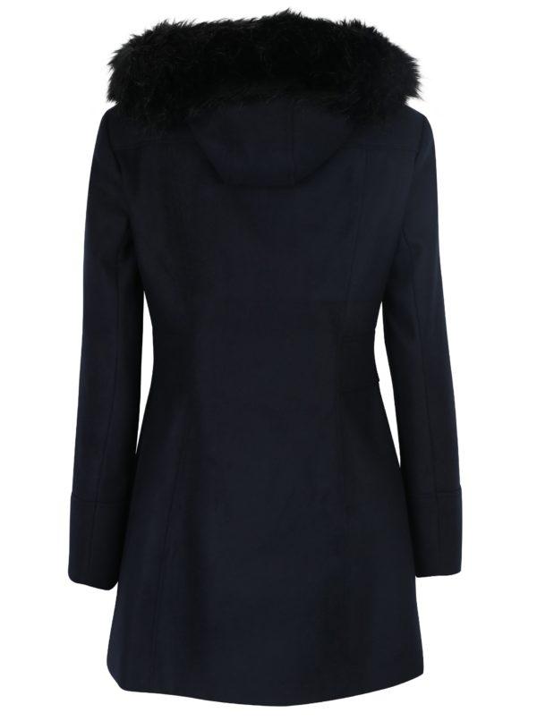Tmavomodrý kabát s kapucňou Miss Selfridge
