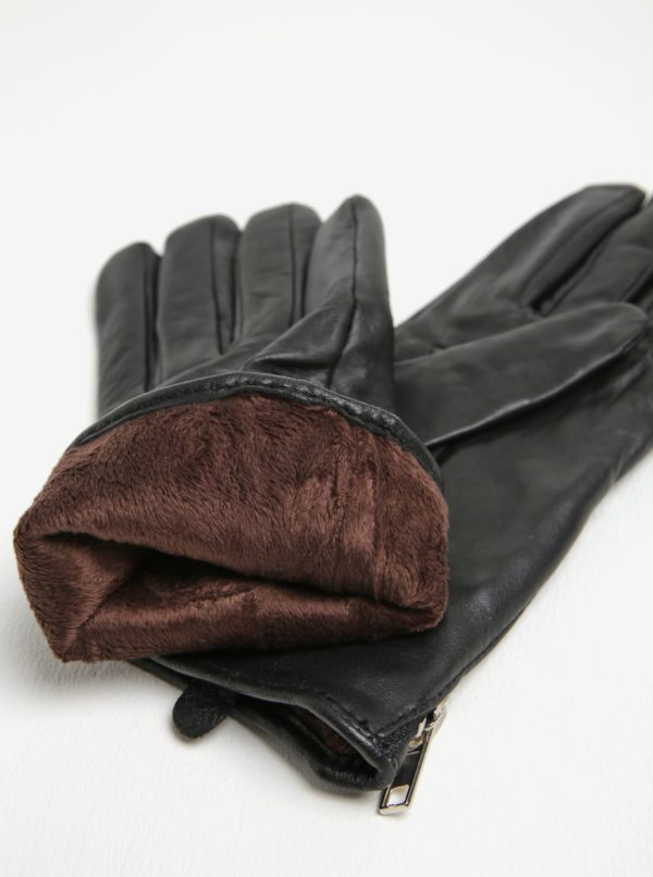 Čierne dámske kožené rukavice Pieces Jamista
