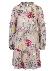 Svetloružové kvetované šaty Miss Selfridge