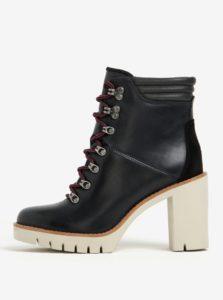 Čierne dámske kožené členkové topánky na vysokom podpätku Tommy Hilfiger Paola