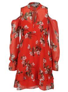 Červené kvetované šaty s prestrihmi na ramenách Miss Selfridge