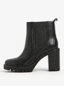 Čierne dámske kožené chelsea topánky na vysokom podpätku Tommy Hilfiger Paola