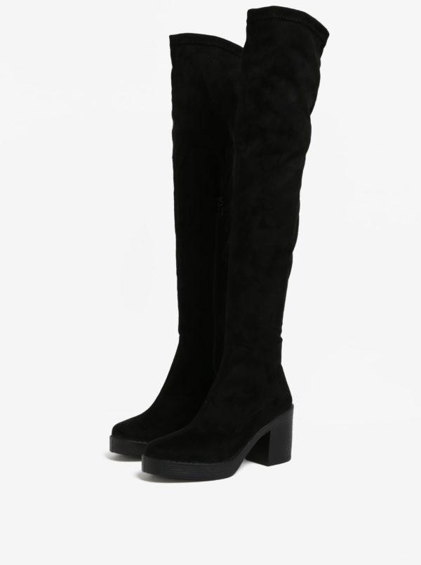 Čierne vysoké čižmy v semišovej úprave Miss Selfridge