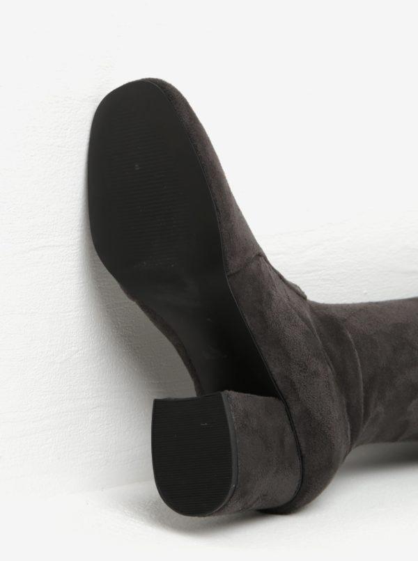 Sivé vysoké čižmy v semišovej úprave Miss Selfridge