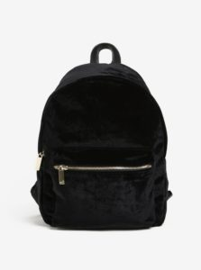 Čierny zamatový batoh so zipsom v zlatej farbe Nalí