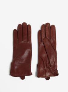 Hnedé dámske kožené rukavice s kašmírovou podšívkou Royal RepubliQ