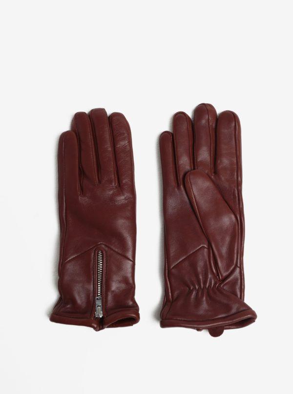 Hnedé dámske kožené rukavice so zipsom a kašmírovou podšívkou Royal RepubliQ
