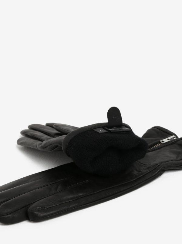 Čierne dámske kožené rukavice so zipsom a kašmírovou podšívkou Royal RepubliQ
