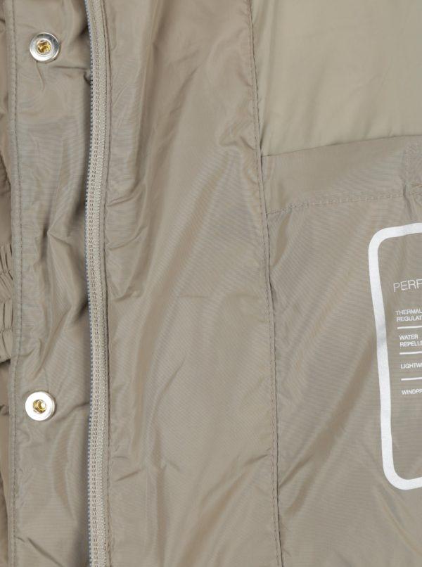 Béžová dámska prešívaná bunda s opaskom Geox