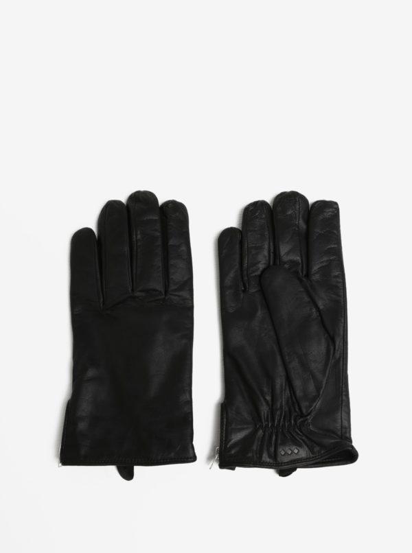 Čierne pásnske kožené rukavice so zipsom a kašmírovou podšívkou Royal RepubliQ