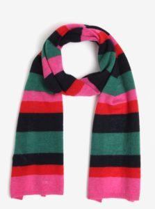 Ružovo-zelený dámsky vlnený pruhovaný šál GANT