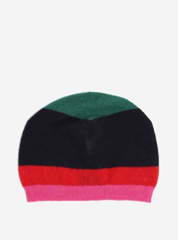 Červeno-modrá pánska vlnená pruhovaná čapica GANT