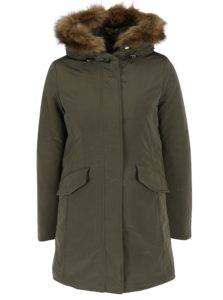 Tmavozelený dámsky kabát s umelým kožúškom Geox