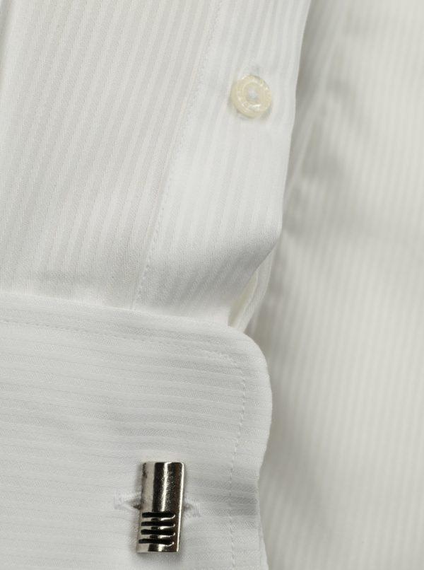 Biela formálna slim fit košeľa s jemným vzorom Braiconf Costin