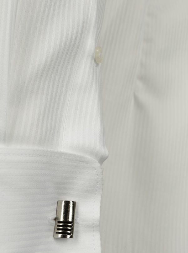 Biela formálna super slim fit košeľa s jemným vzorom Braiconf Costin