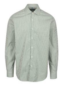 Bielo-zelená formálna pruhovaná slim fit košeľa Braiconf Flaviu