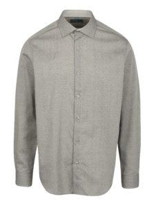 Sivá vzorovaná formálna slim fit košeľa Braiconf Ion