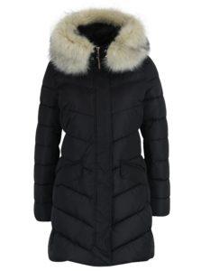 Čierny dámsky prešívaný kabát s odopínateľným kožúškom Geox