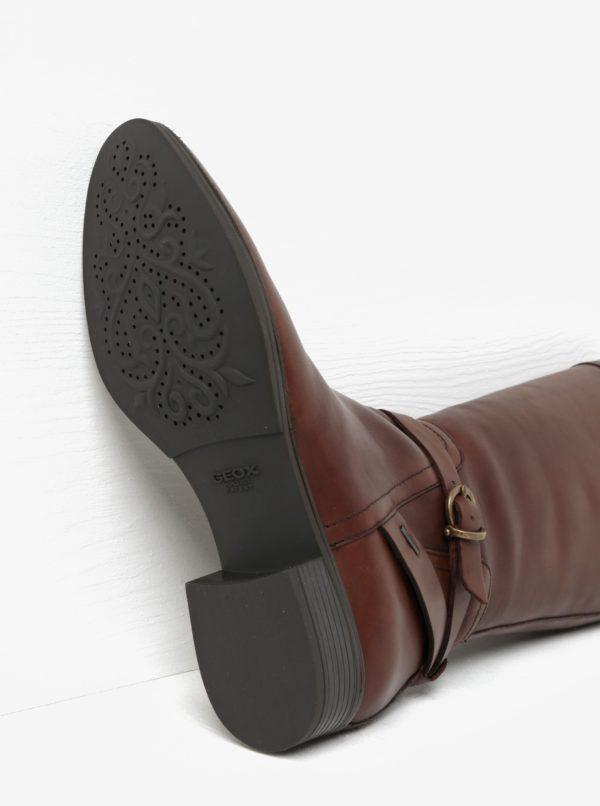 Hnedé kožené čižmy s prackou Geox Meldi