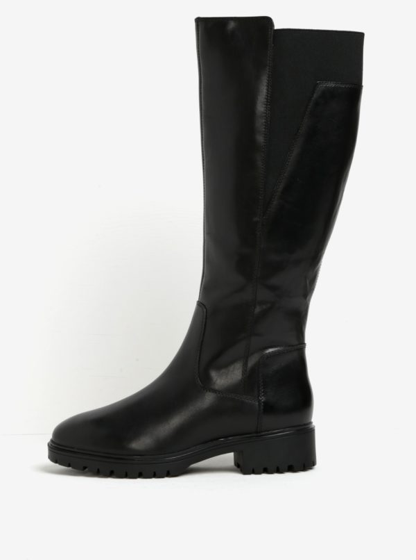 Čierne zateplené kožené čižmy s gumenou vložkou Geox Peaceful