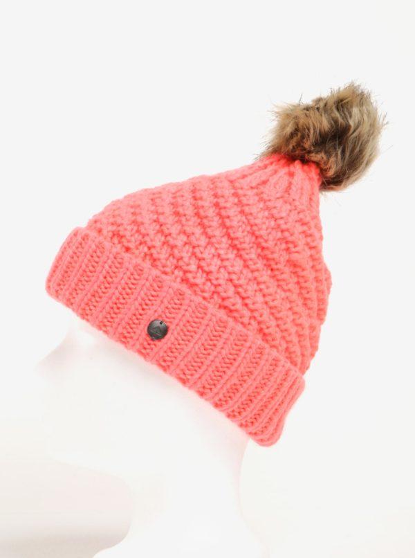 Neónovo ružová dámska pletená čiapka s brmbolcom Roxy Blizzard