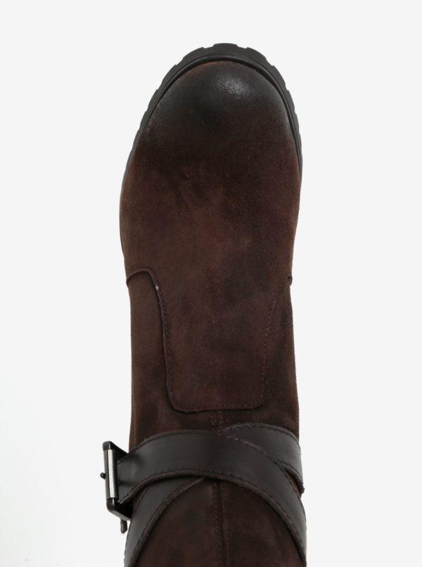 764b403ab0 Tmavohnedé semišové členkové topánky na podpätku Geox New Lise