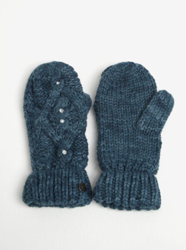 Petrolejové dámske pletené rukavice s kamienkami Roxy Shooting Star