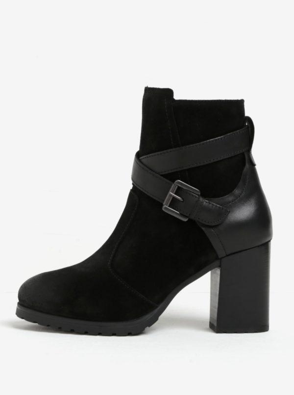 Čierne semišové členkové topánky na podpätku Geox New Lise