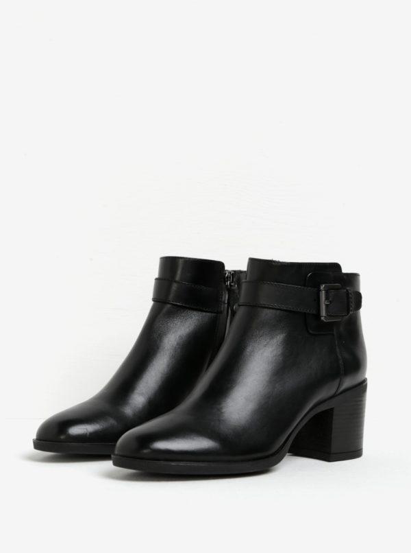 6c0fc35b13 Čierne dámske kožené členkové topánky s prackou Geox Glynna