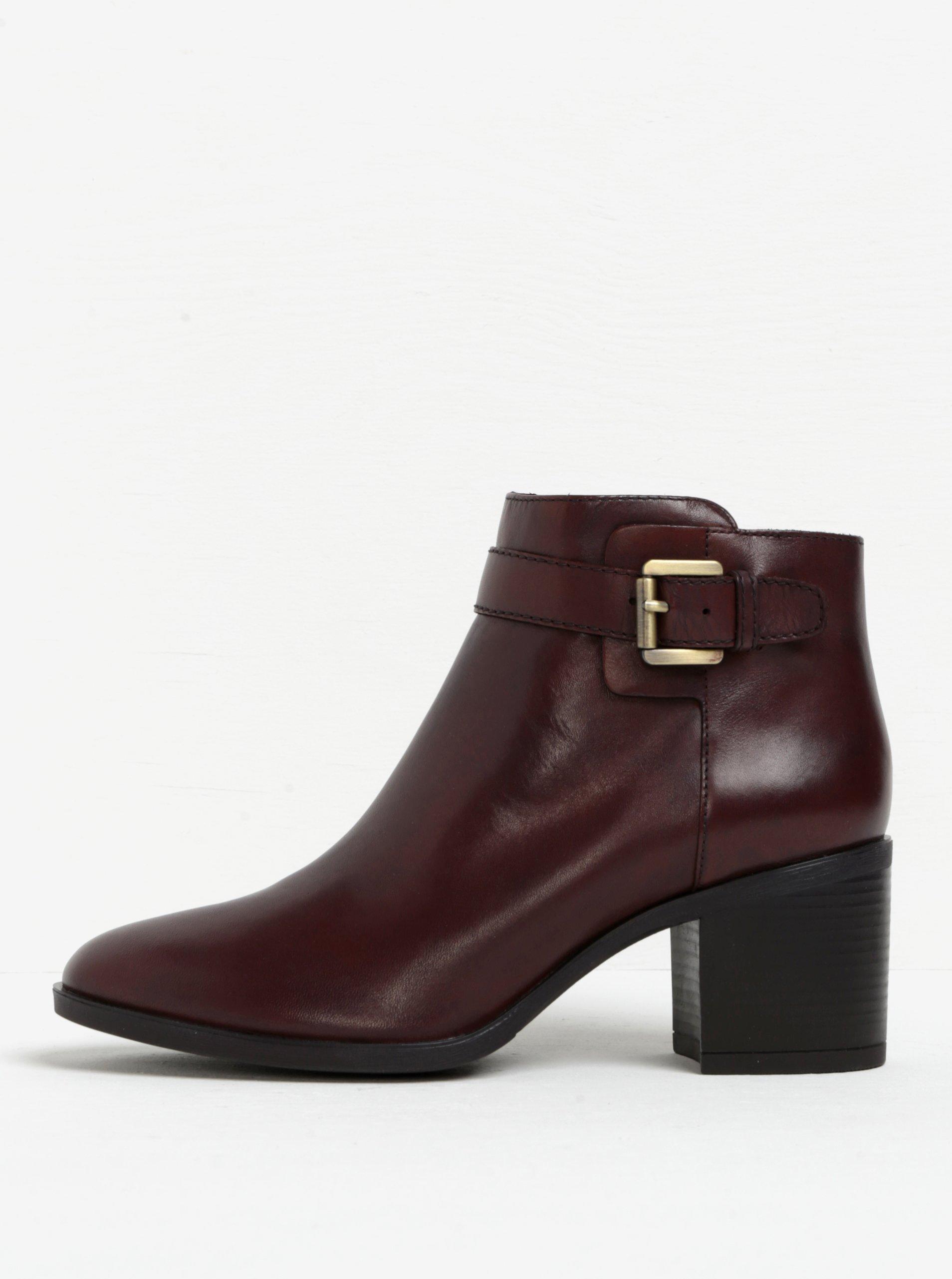 36291c5f54 Hnedé dámske kožené členkové topánky s prackou Geox Glynna