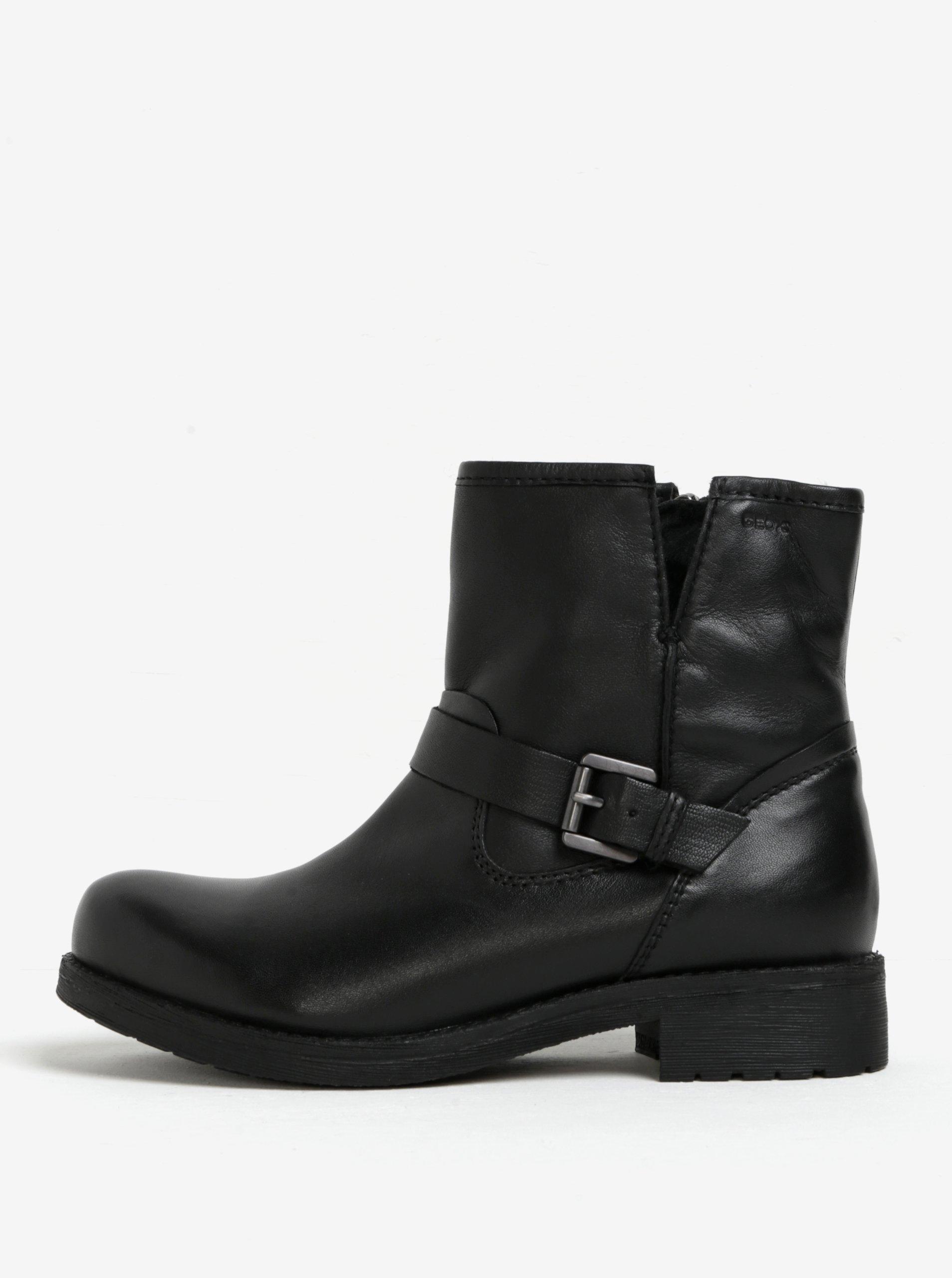 936a3030165ec Čierne dámske kožené členkové topánky s prackou Geox New Virna | Moda.sk