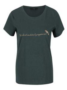 Tmavozelené tričko s výšivkou VERO MODA Clara