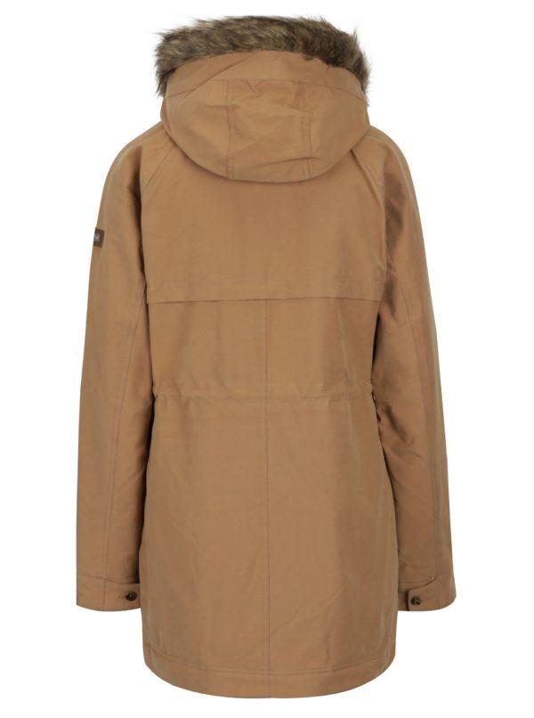 07161baec5 Svetlohnedý dámsky zimný kabát s umelým kožúškom Roxy Mountain