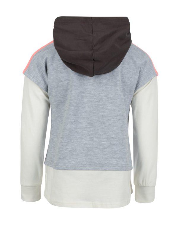 Svetlosivý top s všitým tričkom s dlhým rukávom a kapucňou North Pole Kids