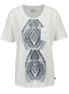 Krémové dámske melírované tričko s potlačou Roxy Wild Chaman