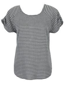 Bielo-sivé dámske pruhované tričko s detailom na chrbte Roxy Gypsy Path