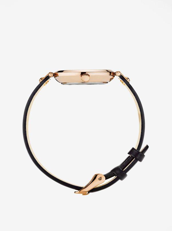 Dámske hodinky v ružovozlatej farbe s čiernym koženým remienkom MOCKBERG Sigrid petite
