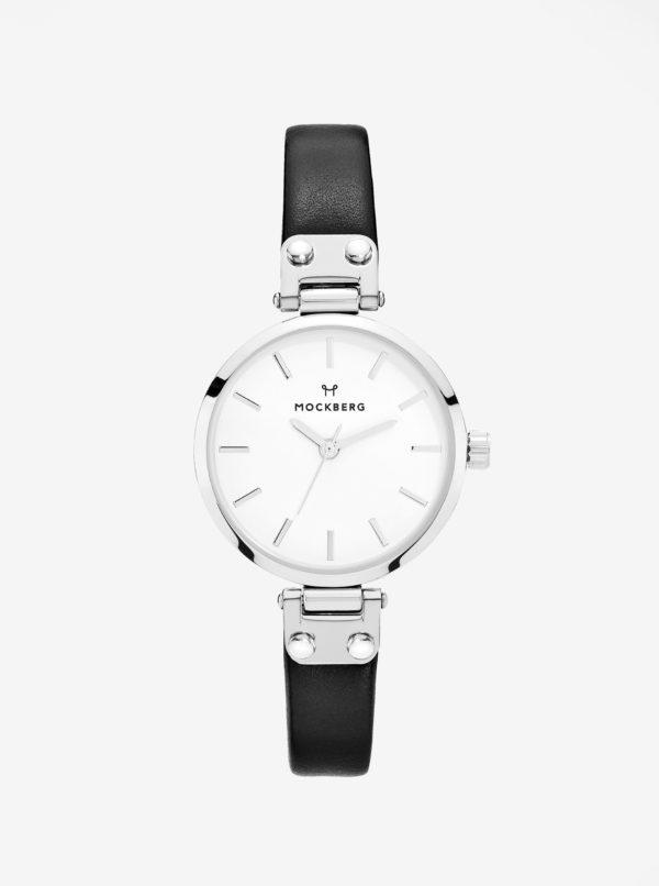 Dámske hodinky v striebornej farbe s čiernym koženým remienkom MOCKBERG Astrid petite