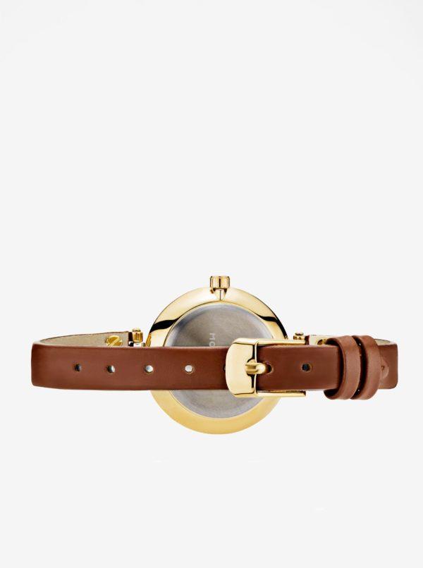 Dámske hodinky v zlatej farbe s hnedým koženým remienkom MOCKBERG Ilse petite